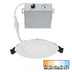 "4"" Ultra-Thin LED Recessed Downlight - Selectable CCT - 2700K/3000K/3500K/4000K/5000K - 50 Watt Equivalent - 585 Lumens"