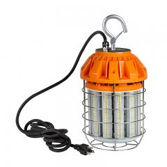 125 Watt Temporary LED Job Site Light w/ Power Cord and Safety Hook - 5000K - 13,700 Lumens