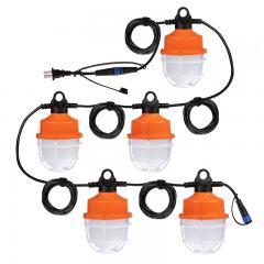 100W LED Temporary Hanging String Light  - 55' Run - Linkable - 12500 Lumens - 5000K