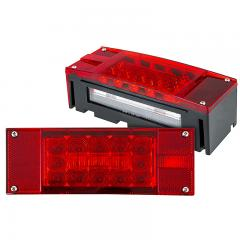 "Rectangular 8"" LED Truck and Trailer Lights Kit - 8"" Brake/Turn/Tail/License Lights Kit - Pigtail Connector - Stud Mount - 20 LEDs"