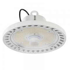 100W White UFO LED High Bay Light - Programmable Motion Sensor - 15500 Lumens - 320W MH Equivalent - 5000K