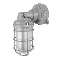 20W Gray Vapor Tight LED Jelly Jar Light - 2,200 Lumens - Caged Wall/Ceiling Mount Light - 5000K