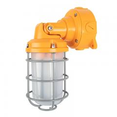20W Orange Vapor Tight LED Jelly Jar Light - 2,200 Lumens - Caged Wall/Ceiling Mount Light - 5000K