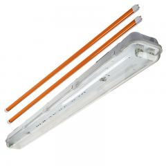 T8 Vapor Tight LED Linear Fixture with 2 Amber T8 Tubes - Boat Dock LED Light - 4' Long
