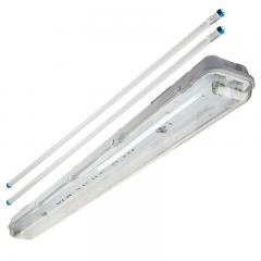 T8 Vapor Tight LED Linear Fixture with 2 T8 Tubes - Industrial LED Light - 4' Long