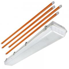 T8 Vapor Tight LED Linear Fixture with 4 Amber T8 Tubes - Boat Dock LED Light - 4' Long