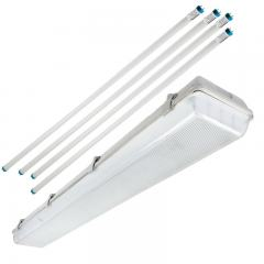 T8 Vapor Tight LED Linear Fixture with 4 T8 Tubes - Industrial LED Light - 4' Long