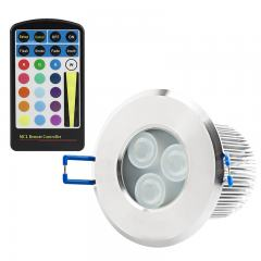 RGB LED Downlight - Waterproof Recessed LED Light w/ Remote - 8 Watt