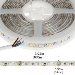 Outdoor RGBW LED Strip Lights - Weatherproof 12V LED Tape Light w/ White and Multicolor LEDs - 245 Lumens/ft.