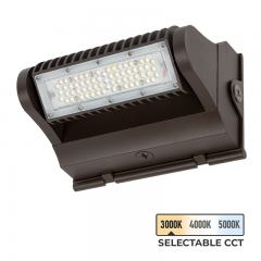 25W Selectable CCT Rotatable LED Wall Pack - Bypassable Photocell - 3375 Lumens - 100W MH Equivalent - 3000K/4000K/5000K