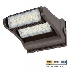60W Selectable CCT Rotatable LED Wall Pack - Integrated Photocell - 8400 Lumens - 320W MH Equivalent - 3000K/4000K/5000K