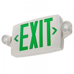 Green LED Exit Sign/Emergency Light Combo w/ Battery Backup - Single or Double Face - Adjustable Light Heads