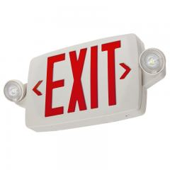 White LED Exit Sign/Emergency Light Combo w/ Battery Backup - Single or Double Face - Adjustable Light Heads