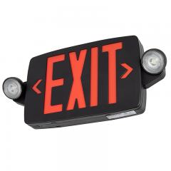 Black LED Exit Sign/Emergency Light Combo w/ Battery Backup - Single or Double Face - Adjustable Light Heads - Red w/ Black Housing