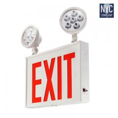 Red LED Exit Sign - NYC Emergency Light with Backup Battery - (2) Adjustable Light Heads - XSCS-RW