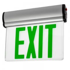 Green Edge Lit LED Exit Sign w/ Battery Backup - Single Face - Adjustable Angle