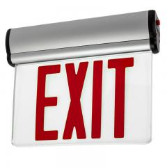 Red Edge Lit LED Exit Sign w/ Battery Backup - Single Face - Adjustable Angle