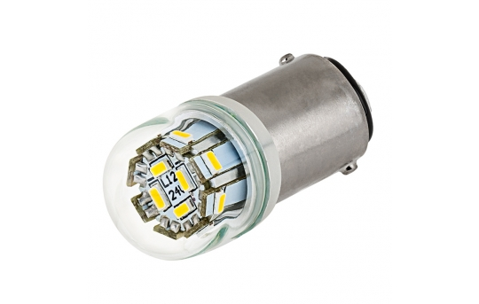 1142 LED Boat and RV Light Bulb w/ Stock Cover - 12 SMD LED - BA15D Retrofit - 107 Lumens - 1142-x12-G-RVB
