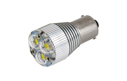 1156 LED Boat and RV Light Bulb w/ Removable Lens - 3 High Power LED - BA15S Retrofit - 240 Lumens - 1156-x3X1W-RVB