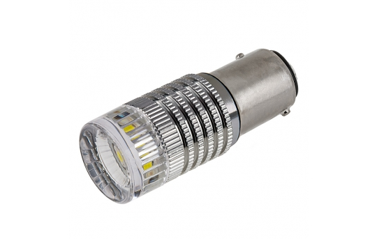 1157 LED Boat and RV Light Bulb w/ Reflector Lens - Dual Function 1 High Power LED - BAY15D Retrofit - 1157-x3W-RVB