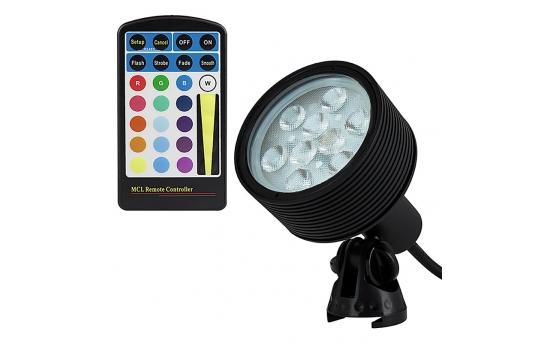 18W Color Changing RGB LED Landscape Spotlight w/ Remote - 40 Watt Equivalent - 525 Lumens - GLUX-RGB18W-S40B-MCL
