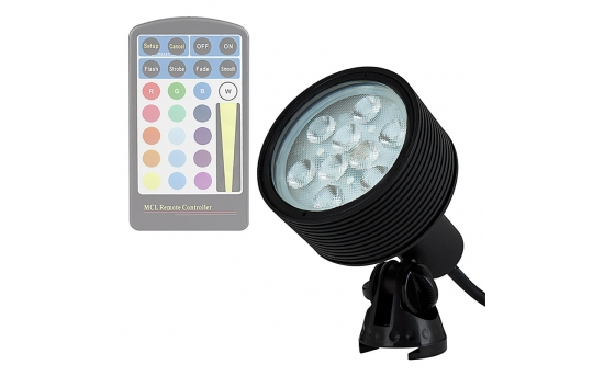 18W Color Changing RGB LED Landscape Spotlight - 40 Watt Equivalent - 525 Lumens - Remote Sold Separately - GLUX-RGB18W-S40
