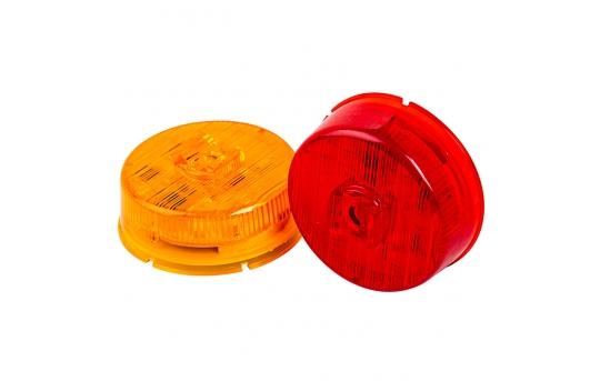"Round LED Truck Trailer Light - 2"" PC Rated LED Marker Clearance Light - Flush Mount - 5 LEDs - M5PC-x5"