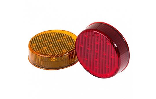 """Round LED Truck and Trailer Lights - 2-1/2"""" LED Side Clearance Lights - 2-Pin Connector - Surface Mount - 13 LEDs - M4-x13"""