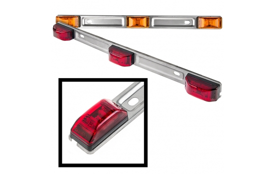 """Truck and Trailer LED ID Light - 14"""" 3-Lamp LED Identification Light Bar - Pigtail Connector - Surface Mount - SSMBPC-x3X3"""