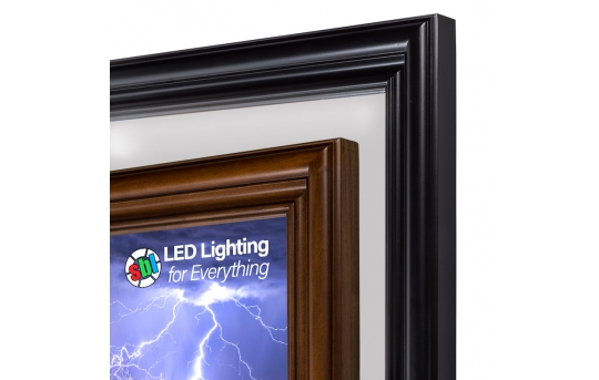 Ultra-Thin LED Light Box Panels w/ Custom-Printed LUXART® Diffuser and Wood Frame - Dimmable - EGD-CP-x-WD