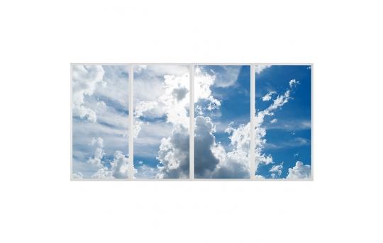 Multi LED Skylight Display w/ SkyLenses® - 2x4 Dimmable LED Panel Lights - Drop Ceiling - EGD3-x-x24-50-Mx