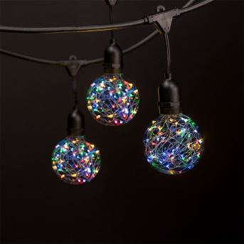 Commercial Grade Outdoor LED String Lights w/ Pendant Sockets - 23' - GLS-14J2-E26S-10-KIT-F