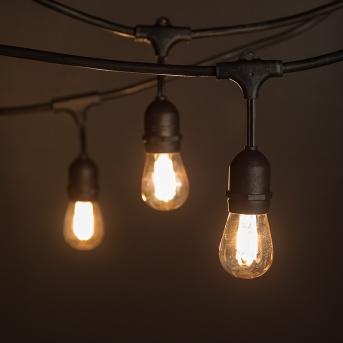Commercial Grade Outdoor LED String Lights w/ Pendant Sockets - 23' - GLS-14J2-E26S-10-KIT-FIL