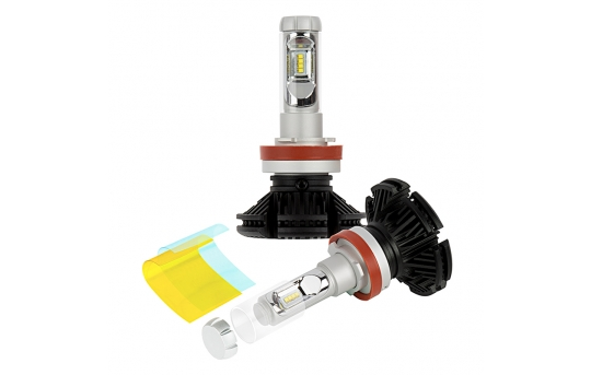 H11 LED Fanless Headlight/Fog Light Conversion Kit with Adjustable Color Temperature and Compact Heat Sinks  - 5,000 Lumens/Set - H11-HLV5