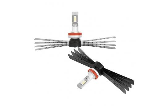 H11 LED Headlight/Fog Light Conversion Kit with Aluminum Finned Heat Sinks - 6,000 Lumens/Set - H11-HLV6