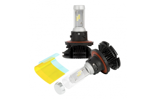 H13 LED Fanless Headlight/Fog Light Conversion Kit with Adjustable Color Temperature and Compact Heat Sinks  - 5,000 Lumens/Set - H13-HLV5