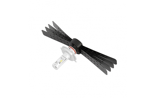 Motorcycle H4 LED Headlight Conversion Kit with Aluminum Finned Heat Sink - 3,000 Lumens - H4-HLV6-M