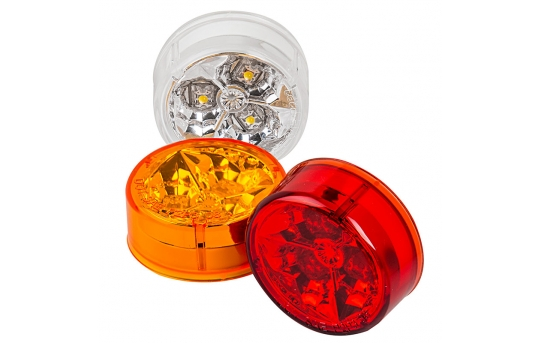 """Round LED Truck and Trailer Lights - 2"""" LED Side Clearance Lights - 2-Pin Connector - Flush Mount - 3 LEDs - M5-xHB3"""