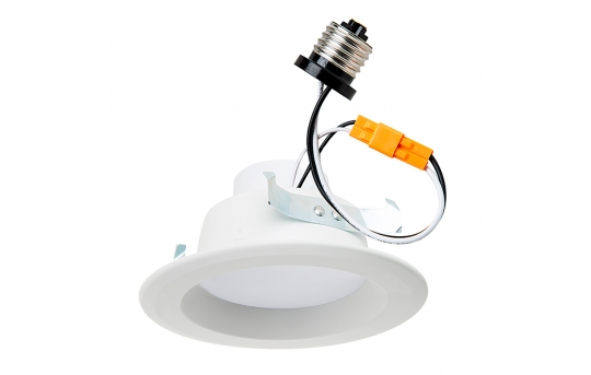 """LED Recessed Lighting Kit for 4"""" Cans - Retrofit LED Downlight w/ Open Trim - 60 Watt Equivalent - Dimmable - 900 Lumens - DL4D-x14W"""