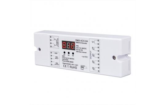 8 Amp 4 Channel DMX 512 Decoder for LED DMX Controllers - Address Digital Display - DMX-4CH-8A