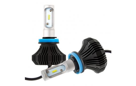 H8 LED Fanless Headlight/Fog Light Conversion Kit with Compact Heat Sink - 4,000 Lumens/Set - H8-HLV4
