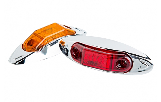 """Oval LED Truck and Trailer Lights - 4"""" LED Side Clearance Lights w/ Chrome Bezel - Bullet Connector - Surface Mount - 3 LEDs - MMOC-x3HB"""