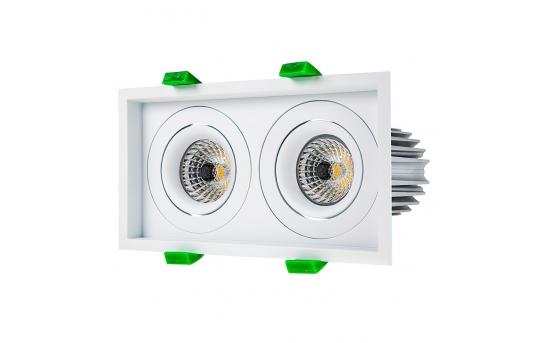 LED Recessed Light Engines w/ Dual Square 98mm Aimable Trim - 75 Watt Equivalent - RLFM-x12W-x-D98S