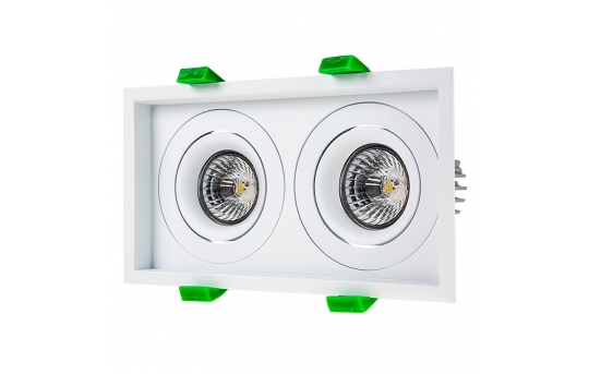 LED Recessed Light Engines w/ Dual Square 98mm Aimable Trim - 70 Watt Equivalent - RLFM-x8W-x-D98S