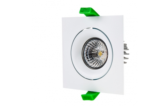 LED Recessed Light Engine w/ Square 90mm Aimable Trim - 60 Watt Equivalent - RLFM-x8W-x-90S
