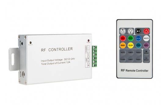 RGB LED Controller w/ RF Remote - Dynamic Color-Changing Modes - 4 Amps/Channel - LDRF-RGB4