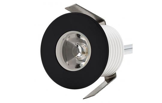 LED Step Lights - Black 40mm Metal Trimmed Mini Round Deck / Step Accent Light - 1 Watt - MRLF-1xW-MTB
