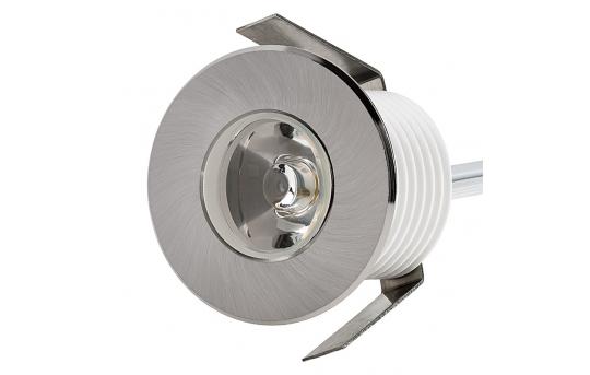 LED Step Lights - Brushed Nickel 40mm Metal Trimmed Mini Round Deck / Step Accent Light - 1 Watt - MRLF-1xW-MTN