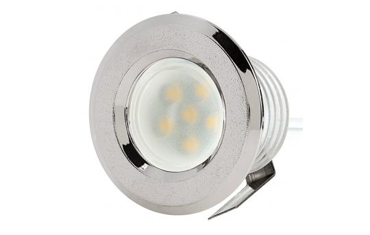 LED Step Lights - Brushed Nickel 40mm Plastic Trimmed Mini Round Deck / Step Accent Light - 0.5 Watt - MRLF-6xW-RTN