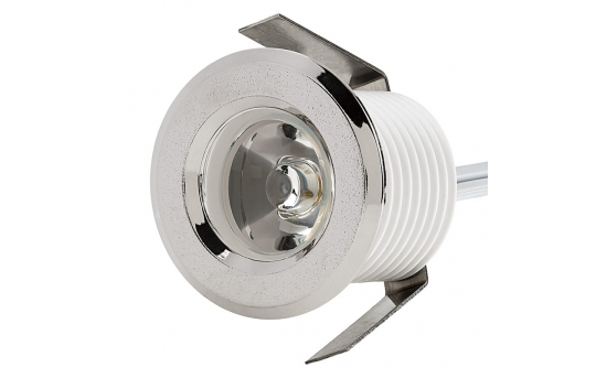 LED Step Lights - Brushed Nickel 40mm Plastic Trimmed Mini Round Deck / Step Accent Light - 1 Watt - MRLF-1xW-RTN